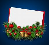 Paper card background with fir twigs and red baubles. Red bells. Christmas vector illustration. Eps10.