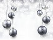 Abstract background with silver christmas balls. Vector illustration.