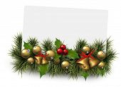 Paper card background with fir twigs and golden baubles. Jingle bells. Christmas vector illustration. Eps10.