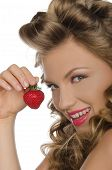Portrait Of Woman With Strawberries In Hands