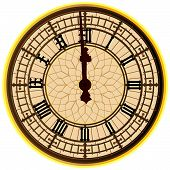 Big Ben Midnight Clock Face