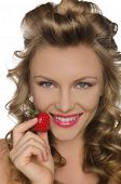 Smiling Woman With Strawberries In Hands