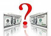 Question Symbol Between Dollar Banknotes