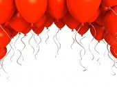 Red party balloons on white background