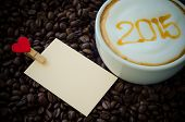 A Cup Of Coffee With Foam Milk Art 2015 Pattern And Clip Note