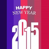 happy new year 2015 design with colorful vertical lines at the back