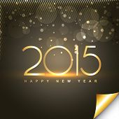 shiny happy new year text in gold style with transparent circles and lines at the top