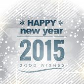 happy new year 2015 covered with circle snow in light winter style background