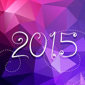 creative 2015 text in curly style with triangle colorful background