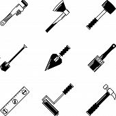 Black vector icons for woodwork tools