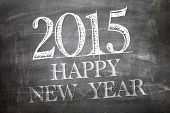 2015 Happy New Year written on blackboard