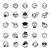 Face Action Line Icons On White Background