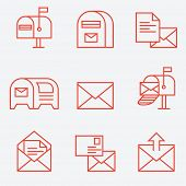 Mail icon set, thin line style, flat design
