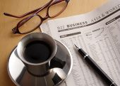 Black Coffee, Newspaper, Pen and Glasses