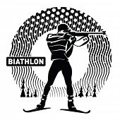Biathlon. Vector illustration in the engraving style