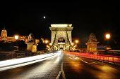 Chain Bridge At Night With Traffic Light Trails, Budapest, Hungary