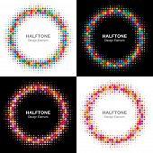 Set of Colorful Bright Halftone Circles