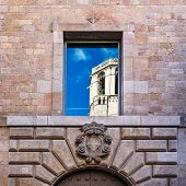 Sky And Cathedral Of The Holy Cross Reflection In Reial Major Palace, Barcelona, Catalonia, Spain