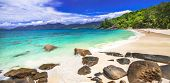 panoramic view of beautiful white sandy beach . Seychelles island