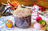Cake Decorated With Colorful Sprinkled On Easter