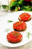 Canape With Red Caviar And Cream Cheese