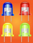 stock photo of diodes  - four color led  - JPG