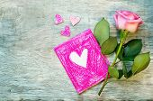 Valentine's Background With A Flower And Card