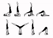 Complex of Inverted Yoga Postures - sketch vector illustration