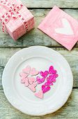 Valentine's Background With Gift, Plate And Card