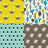 Seamless animals badger deer scandinavian style woodland theme kids background pattern for boys in vector