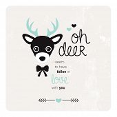 Oh deer I have fallen in love with you quirky Valentine's day postcard cover design background illustration in vector