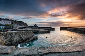 Sunrise At Historic Charlestown Harbour On The Cornwall Coast Near St Austell