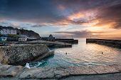 Sunrise At Historic Charlestown Harbour On The Cornwall Coast Near St Austell