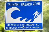 Tsunami And Earthquake Hazard Zone Signal In Vancouver. Canada