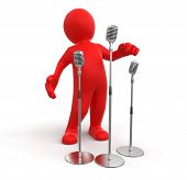 Man and Microphones (clipping path included)