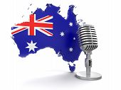 Microphone and Australia (clipping path included)