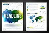 Set of Vector Poster Templates with Watercolor Paint Texture.