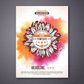Poster or Flyer Template with watercolor paint abstract background.