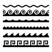 Seamless Wave Pattern Set. Vector Template