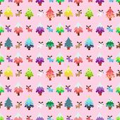 Christmas Theme Pinetree And Reindeer Sweety Seamless Pattern