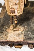 Detail On Old Rusty Sewing Machine