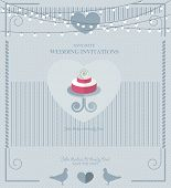 Wedding card flat. Wedding Cake flat. Wedding Card Invitation in Vector