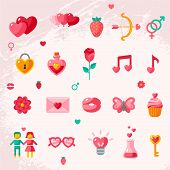 Valentine's day icons elements collection.