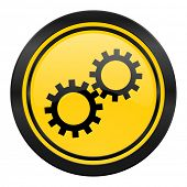 gears icon, yellow logo, options sign