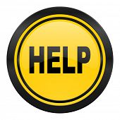 help icon, yellow logo