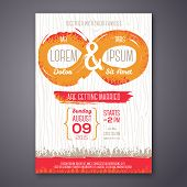 Wedding invitation card with grunge endless symbol.