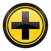 plus icon, yellow logo, cross sign