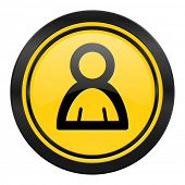 person icon, yellow logo