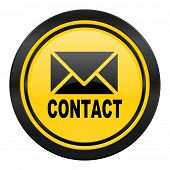 email icon, yellow logo, contact sign
