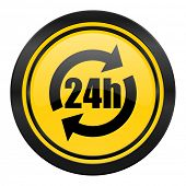 24h icon, yellow logo